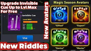 Gambar cover 8 Ball Pool New Riddles With More Invisible Cue Pieces And Avatars