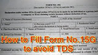 How to Fill 15G Form in Hindi   Step by Step Process of Filling 15G Form to avoid TDS