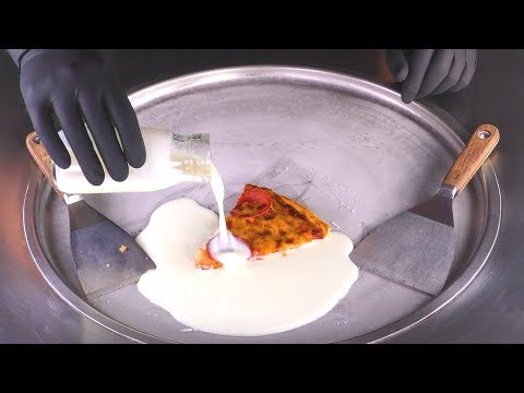 ASMR - Pizza Ice Cream Rolls | how to make Domino's Pizza to fried Ice Cream - oddly satisfying Food