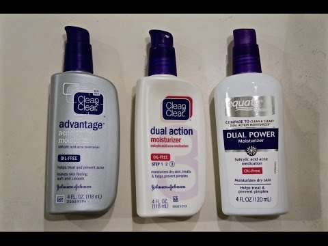 Clean & Clear and Equate Moisturizers Comparison