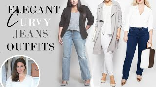 Elegant Curvy Plus Size Jeans Outfits | Fashion Over 40