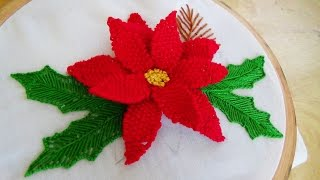 Hand Embroidery: Detached 3D Flower Stitch (Christmas Theme)
