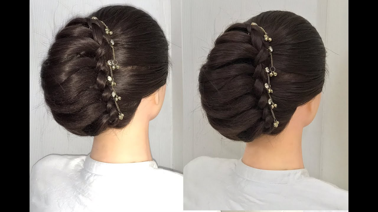 Download Beautiful French Bun Hairstyle For Wedding Or Part