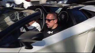 Franck Ribéry driving his new Lamborghini Aventador SV Roadster