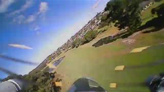 Ultra Micro Mosquito RC Plane FPV flight on golf course including crash