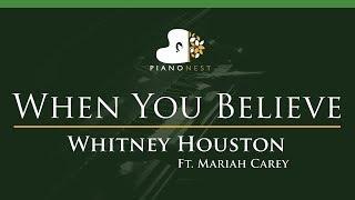 Whitney Houston Ft. Mariah Carey   When You Believe   LOWER Key (Piano Karaoke  Sing Along)