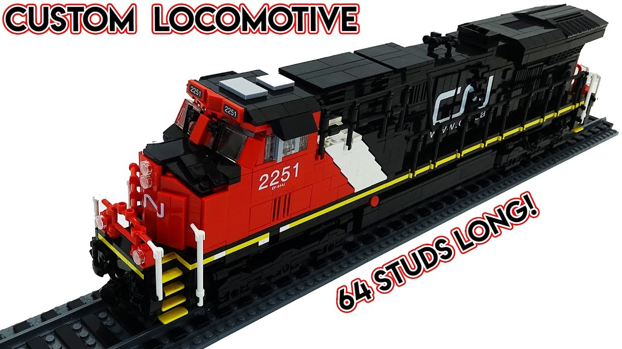 Custom LEGO CN Locomotive MOC - 8x64 STUDS! US44DC Train