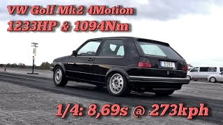 VW Golf Mk2 4Motion 1233HP 8,69s @ 273kph in Finsterwalde 2016
