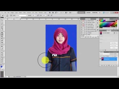 Video 2 cara mengganti  warna background pas foto di photoshop