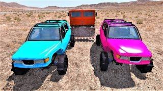 Машины монстры и цветные джипы в пустыне - Мультики про машинки 2019
