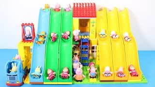 Peppa Pig Blocks Mega House With Water Slide Toys For Kids - Lego Duplo House Building Toys #7