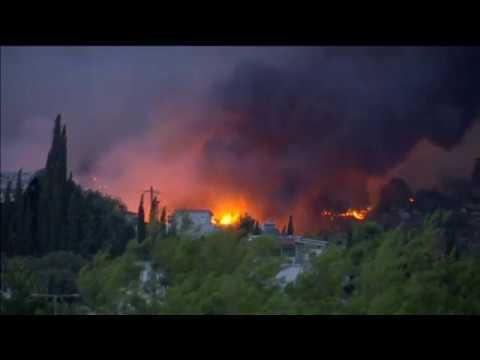Масштабные пожары в Греции
