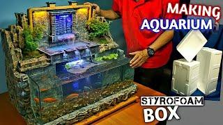 Make Aquarium Waterfall Decoration using Styrofoam Box  - MINI WATERFALL GARDEN / DIORAMA