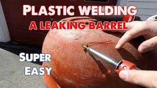 How To Plastic Weld A Leaking Barrel. Harbor Freight Plastic Welder.