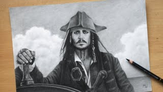 Jack Sparrow Charcoal Pencil Drawing - Johnny Depp In Pirates Of The Caribbean Time Lapse