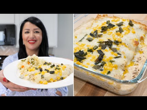 Baked Mexican Enchiladas !!! Poblano Corn and Cheese (encremadas)