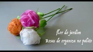 DIY - Rosas  No Palito De Tecido De Organza - Organza Fabric Roses