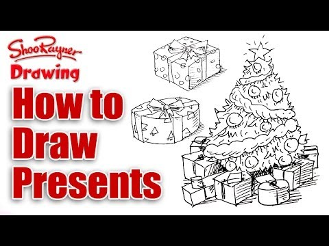 Drawings Of Christmas Presents.How To Draw Christmas Presents Shoo Rayner Author
