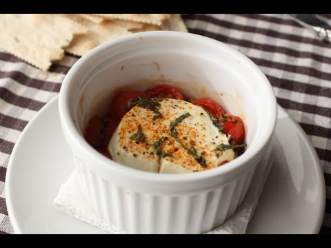 "Baked Goat Cheese ""Caprese"" – Goat Cheese Baked with Tomatoes and Basil"