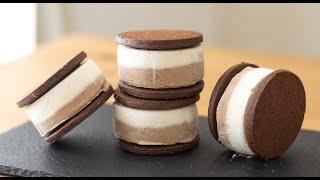 ティラミス風クッキーサンドアイスの作り方 Tiramisu Ice Cream Sandwich|HidaMari Cooking