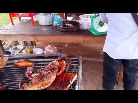 หมูย่างกัมพูชาเมืองสะยองอร่อยมาก Cambodia roasted pork Style