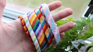 Candy Stripe Friendship Bracelet Tutorial! W/ Adjustable Knot