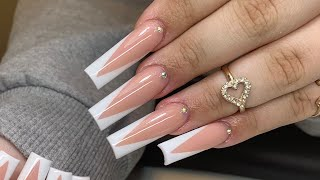 V-Tip French Long Acrylic Nails