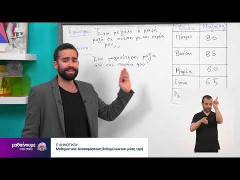 Μαθηματικά | Αναπαράσταση δεδομένων και μέση τιμή | Ε΄ Δημοτικού Επ. 180