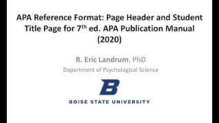 APA Format for Student Papers, Page Numbering & Title Page -- 7th ed. APA Publication Manual (2020)
