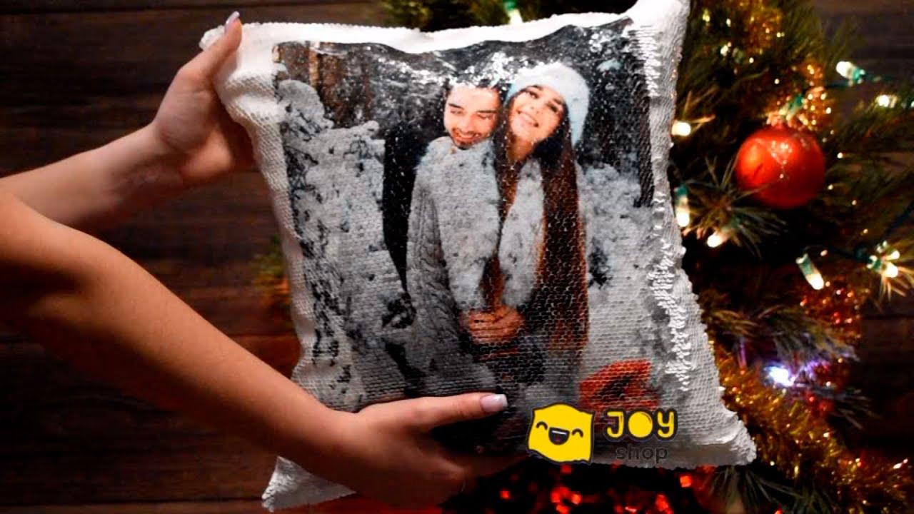 Подушка с фотографией на двух сторонах пайеток