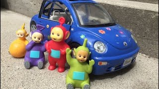 Blue VOLKSWAGEN BUG Car Trip to the Animal Shelter with TELETUBBIES TOYS Learning for Kids!