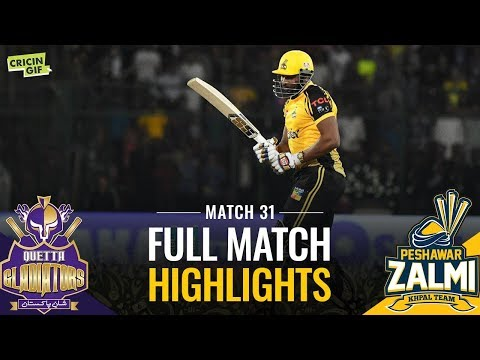 PSL 2019 Match 31: Peshawar Zalmi vs Quetta Gladiators | CALTEX Full Match Highlights