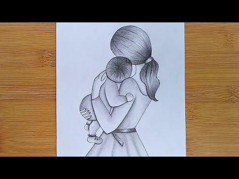 How to Draw Mother with Baby - Mother's Day Drawing