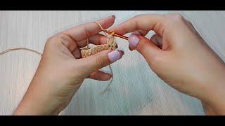 2 столбика с накидом с общей вершиной и основанием. Вязание крючком (Double crochet stitch)