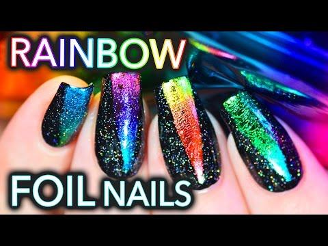 EASY Rainbow foil nail art with HOLO!!