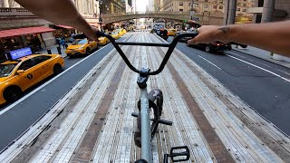 RIDING BMX ON TOP OF MOVING 18 WHEELERS IN NYC 4
