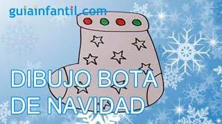 Dibujo infantil de Navidad. Bota de navidad