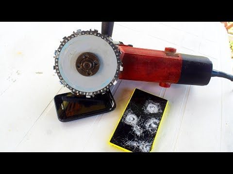 EXPERIMENT GRINDER as CHAINSAW cutting PHONE