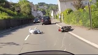 Scooter rider deliberately rammed off the road. Road Rage. Hit and run.