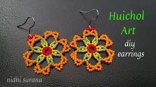 ⚜️ Huichol Art, Seed Bead Earrings    Aretes Tutorial DIY (0331)