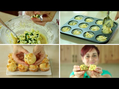 MUFFINS SALATI zucchine e Provola Ricetta Facile - Savoury Muffin with Zucchini and Provolone Recipe
