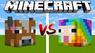 Minecraft COW HOUSE vs RAINBOW SHEEP HOUSE / Minecraft battle Noob vs Pro