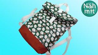 Rucksack nähen | gratis Schnittmuster | mit Innenfutter | Rolltop Rucksack Tasche | Näh mit mir!