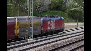 Güterzüge und Fernzüge in Stephanskirchen, Vectron, Railjet und der Zug zum Zementwerk Rohrdorf.