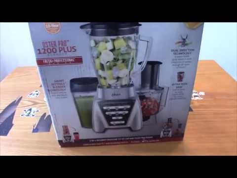 , Oster Pro 1200 Blender with Glass Jar plus Smoothie Cup & Food Processor Attachment, Brushed Nickel
