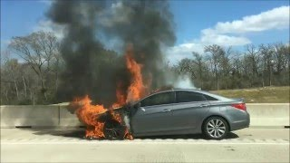 Car On Fire Texas Highway 6 Close To Milican Exit FM 159 February 19 2016