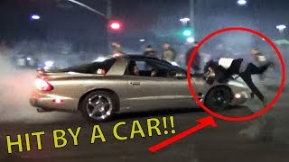 DONUT CAR HITS a GUY at a Car Meet!!