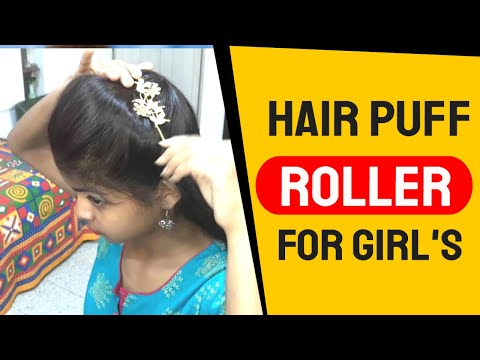 An Easy Self hairstyle with Hair Puff Roller for Girl's//Girl's hairstyle//Self Hairstyle.