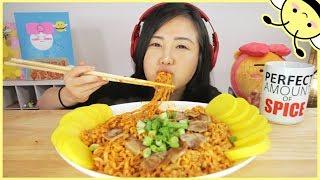 ASMR SPICY FIRE PORK BELLY CARBONARA NOODLES l Cooking + Eating Sounds