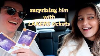 surprising my boy friend with vip lakers tickets